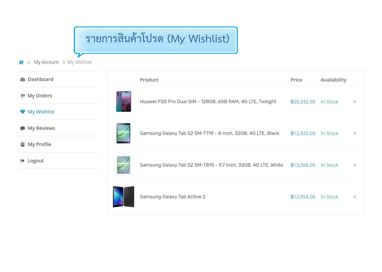 ฟีเจอร์ ecommerce ร้านออนไลน์ เว็บขายสินค้าออนไลน์ ขายของออนไลน์ - เพิ่มลงในรายการโปรด (Product wishlist) บนหน้าร้านออนไลน์- เปิดร้านออนไลน์ ขายของออนไลน์ เว็บอีคอมเมอร์ส ด้วยเว็บไซต์สำเร็จรูป websitethailand ecommerce